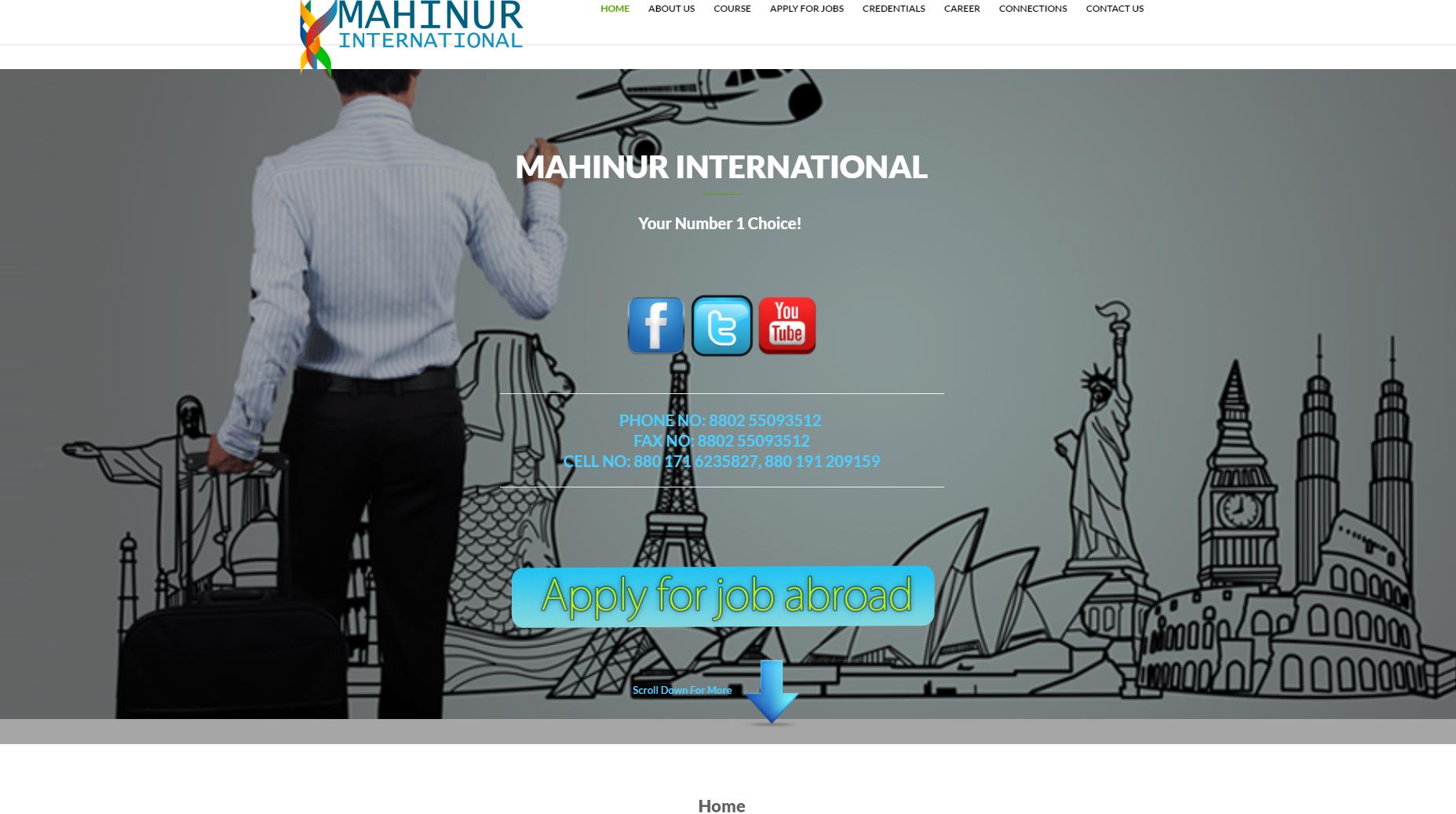 www.mahinurinternational.com   website for Travel Agency